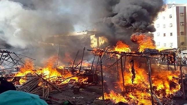 اندلاع حريق بسوق الجملة بالدار البيضاء